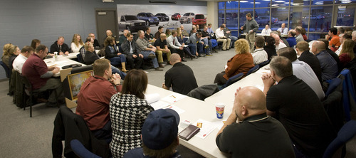 Al Hartmann  |  The Salt Lake Tribune Utah's Business Networking International, a committed and focused organization of dues-paying members sponsor and give solid referrals to others within the group meet during their weekly morning session in a conference room at Larry Miller Chevrolet in Murray Thursday January 12.    Members who don't perform well, who don't attend meetings or who pass bad referrals get the boot. They mean business
