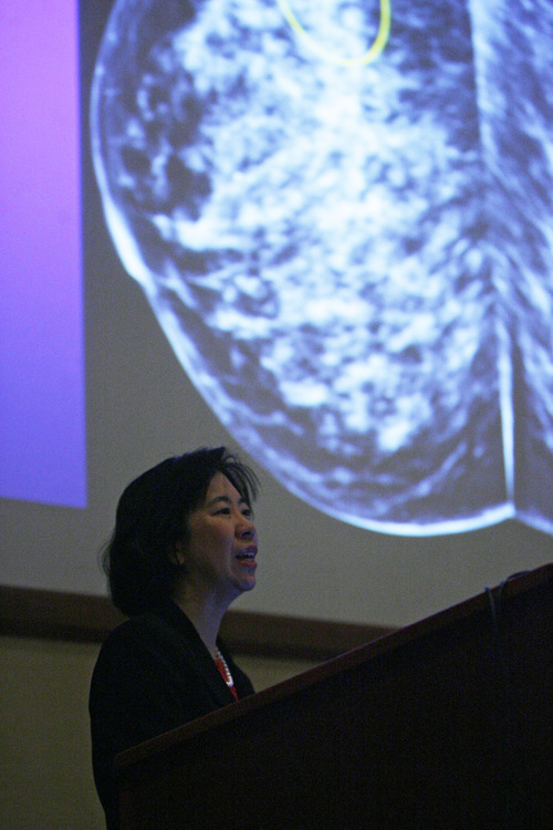 Francisco Kjolseth  |  The Salt Lake Tribune Dr. Bonnie Joe, who is the head of breast imaging at Univ. California San Francisco, talks about the new technologies for imaging breast cancer including MRI, Mammograms, Tomography and whole breast ultrasound.  With a full room at the LDS Hospital ecucation center in Salt Lake on Saturday, January 28, 2012, she discusses the controversies in screening and follow up and which imaging modality is appropriate in which situation.