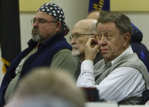 Leah Hogsten  |  The Salt Lake Tribune Tea party supporters listen to state legislators and other Utahns trying to repeal HB116 -- the state's guest worker law -- and steer the immigration debate in Utah in a different direction. About 50 people showed up at a meeting recently at the American Legion Hall in Bountiful.