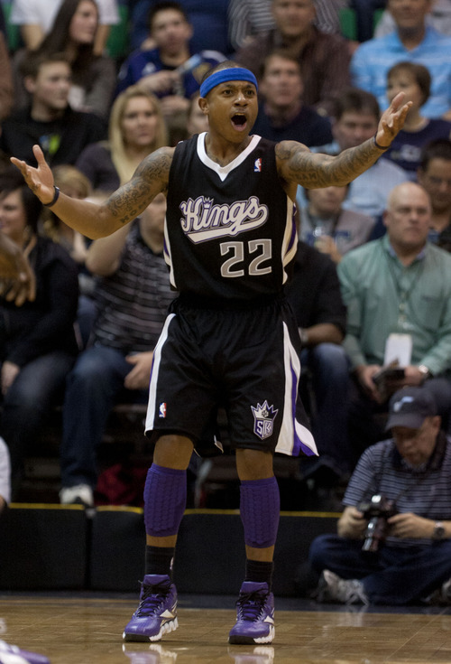 Trent Nelson  |  The Salt Lake Tribune Sacramento's Isaiah Thomas protests a call in the first quarter during game against Sacramento Saturday at the EnergySolutions Arena in Salt Lake City. The Jazz downed the Kings, 96-93.