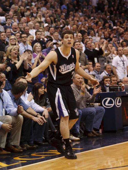 Trent Nelson  |  The Salt Lake Tribune Sacramento's Jimmer Fredette protests a non-call on his final shot, an air-ball in the final seconds of the game, Saturday at the EnergySolutions Arena in Salt Lake City. The Jazz downed the Kings, 96-93.