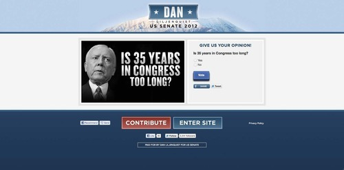 Screenshot from Dan Liljenquist's website, Jan. 19, 2012.