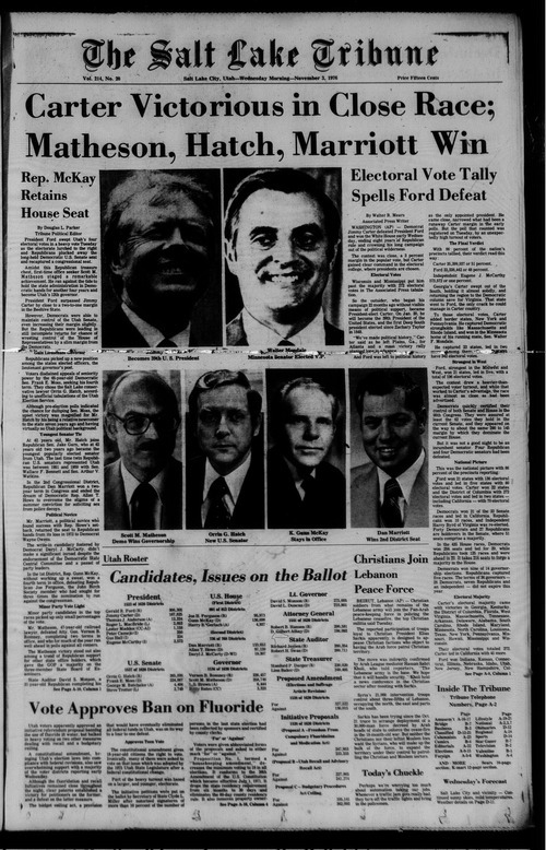 The Nov. 3, 1976, front page of The Salt Lake Tribune announces Orrin Hatch's victory in his Senate race.