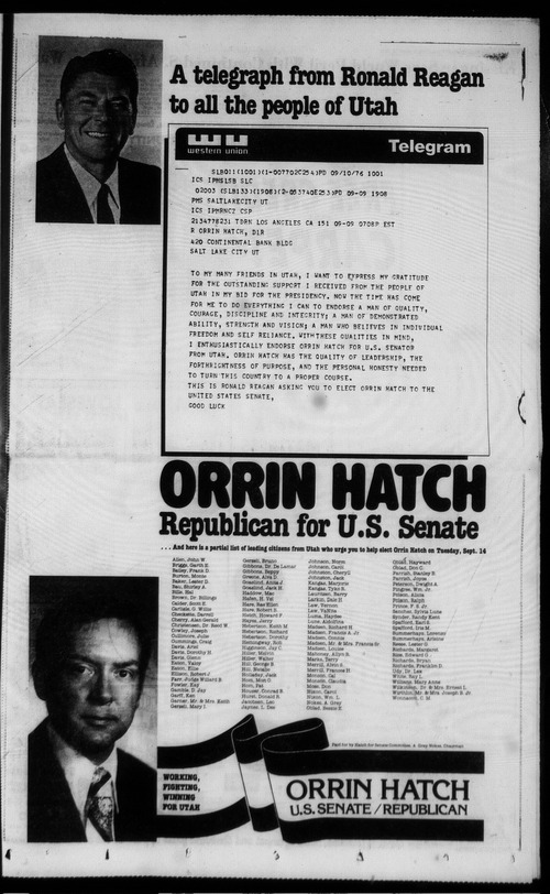 This campaign ad for Orrin Hatch includes an endorsement from Ronald Reagan.