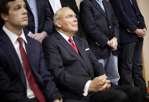 David Goldman  |  Associated Press file photo Jon M. Hunstman Sr. watches as his son, Republican presidential candidate, former Utah Gov. Jon Huntsman announces his withdrawal from the race, Monday, Jan. 16, 2012, in Myrtle Beach, S.C.
