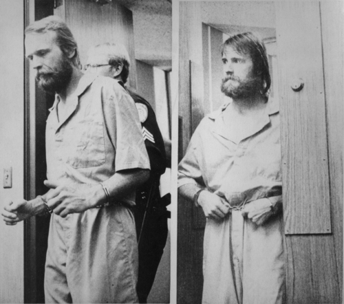 Ron Lafferty, left, and his brother, Dan, were shackled as they appeared in Washoe District court for an extradition hearing in 1984. Merilyn Newton |  AP, Reno Gazette-Journal, 1984