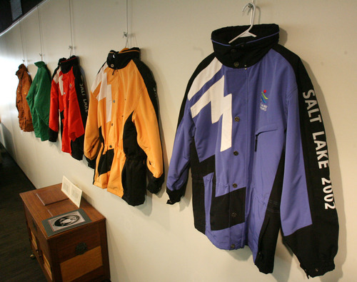 Steve Griffin  |  The Salt Lake Tribune   The University of Utah is hosting a month-long Olympic Experience Exhibition in the Marriott Library in Salt Lake City, Utah. Here many of the different jackets Olympic volunteers wore are on display Tuesday, January 31, 2012.