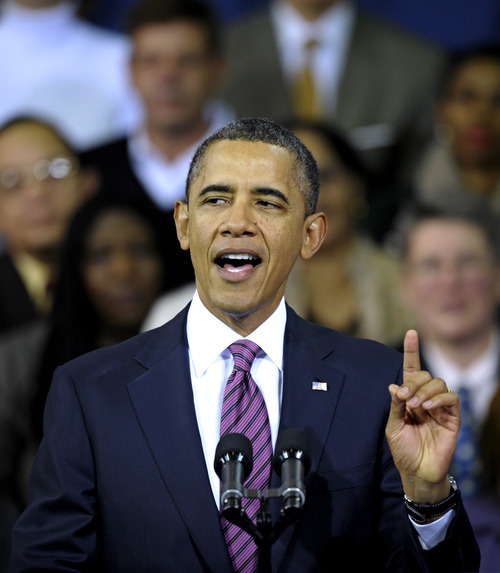 President Barack Obama speaks at the James Lee Community Center in Falls Church, Va., Wednesday, Feb. 1, 2012. Obama outlined a proposal he proposed in his State of the Union address to allow homeowners with privately held mortgages to take advantage of record low rates, for an annual savings of about $3,000 for the average borrower.  (AP Photo/Cliff Owen)