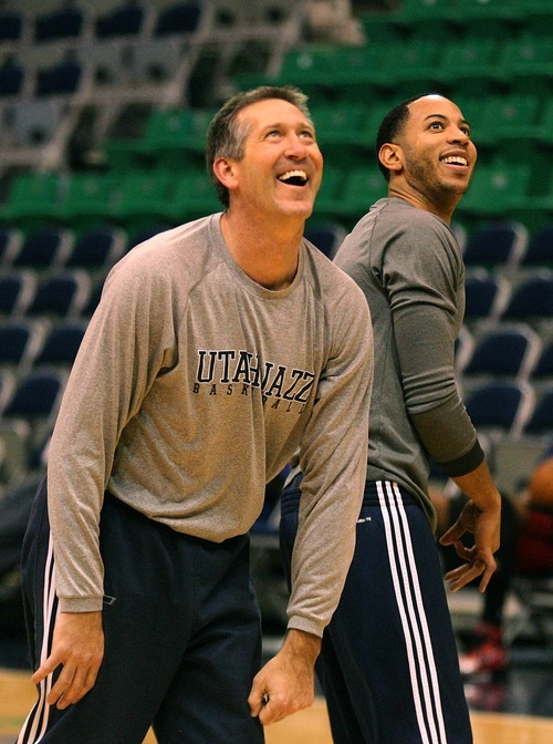 Paul Fraughton | The Salt Lake Tribune. Jeff Hornacek keeps it light as he warms up Devin Harris before the game. The Utah Jazz played Portland at Energy Solutions Arena.  Monday, January 30, 2012