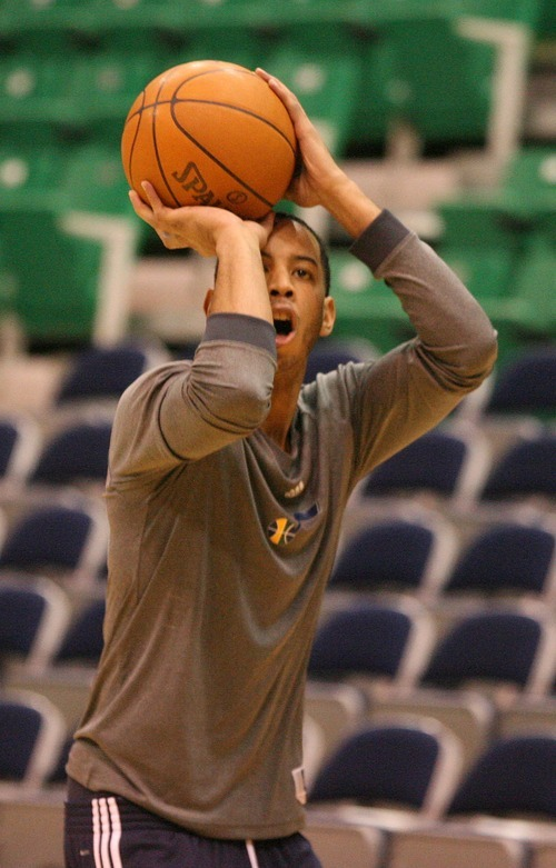 Paul Fraughton | The Salt Lake Tribune. Devin Harris  at the Jazz pre-game warmups. The Utah Jazz played Portland at Energy Solutions Arena.  Monday, January 30, 2012