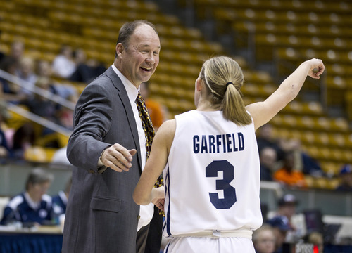 Jaren Wilkey | Photo courtesy of BYU  BYU women's basketball coach Jeff Judkins talks with Ashley Garfield during a game vs. Pepperdine earlier this month.