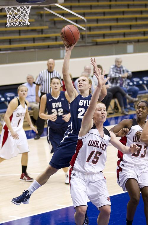 Jaren Wilkey | Photo courtesy of BYU  BYU freshman Lexi Eaton makes a shot in a game earlier this season.