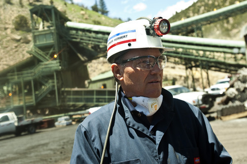 Chris Detrick  Tribune file photo Utah Gov. Gary R. Herbert talks about the Sufco Mine in Emery June 3, 2011. A little-known state panel Thursday approved funding for a new road between Utah's largest coal mine and Emery County's coal-fired power plants, which take about 60 percent of the Sufco Mine's coal.