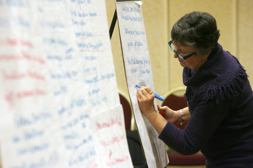 Francisco Kjolseth  |  The Salt Lake Tribune Jane Holt, coordinator for Utah Civility and Community, creates an