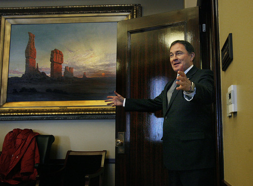 Scott Sommerdorf     The Salt Lake Tribune              Utah Gov. Gary R. Herbert endorsed Mitt Romney on Thursday.