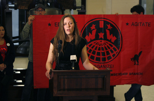 Scott Sommerdorf     The Salt Lake Tribune              Mindy Hatch spoke on behalf of United for Social Justice at the Utah State Capitol on Thursday. She detailed the results of their GRAMA requests from the Attorney General's Office showing some $85,000 spent to date.