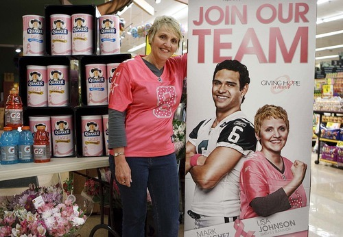 Trent Nelson     The Salt Lake Tribune Lisa Johnson, a breast cancer survivor and employee of Smith's Food & Drug, appears in a promotion last year  to raise money during National Breast Cancer Awareness Month. Johnnson fears the decision by Susan G. Komen for the Cure to halt funding for cancer programs offered by Planned Parenthood will mean fewer women have access to cancer screenings.