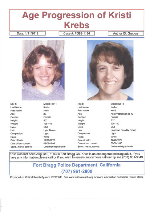 This age progression photo shows what Kristi Krebs, 22, at the time, may look like now at the age of 41. Police in California are hoping someone in Utah, where their last effective tip came from, may be able to help with information in an endangered adult missing person's case gone cold. Courtesy Fort Bragg Police Department