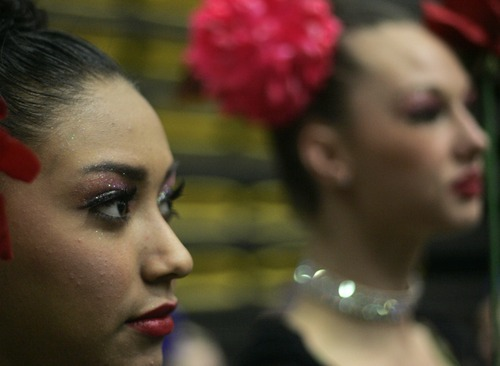 Kim Raff |The Salt Lake Tribune Nery Martinez of Hillcrest High School waits back stage before performing during the 4A Drill Team state championship at Utah Valley University in Orem, Utah on February 3, 2012.