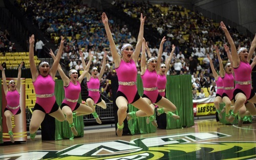Kim Raff |The Salt Lake Tribune Logan High School performs  during the 4A Drill Team state championship at Utah Valley University in Orem, Utah on February 3, 2012.