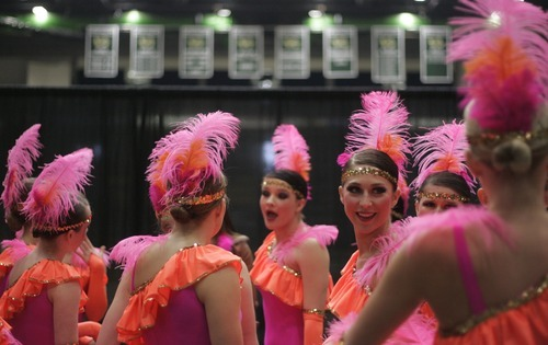 Kim Raff |The Salt Lake Tribune Skyview High School's drill team gets ready back stage before performing during the Character portion of the 4A Drill state championship at Utah Valley University in Orem, Utah on February 3, 2012.