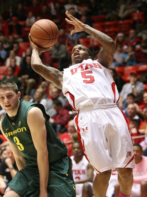 Paul Fraughton | The Salt Lake Tribune. Utah's Kareem Storey takes an off balance shot. Oregon defeated Utah 68 to 79 in The Huntsman Center.  Thursday, February 2, 2012