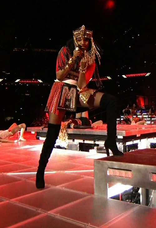 Editor's note: The following image contains on obscene gesture. This image taken from video broadcast on NBC shows M.I.A. giving an obscene gesture during the Super Bowl XLVI halftime show in Indianapolis on Sunday, Feb. 5, 2012. (AP Photo/NBC)