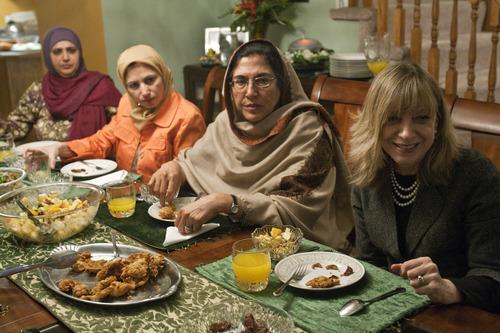 Chris Detrick  |  The Salt Lake Tribune Salt Lake Tribune reporter Peggy Fletcher Stack, right, breaks her Ramadan fast with Noor ul-Hasan, Alia Rauf and Fahmida Ahmed Tuesday January 31, 2012.