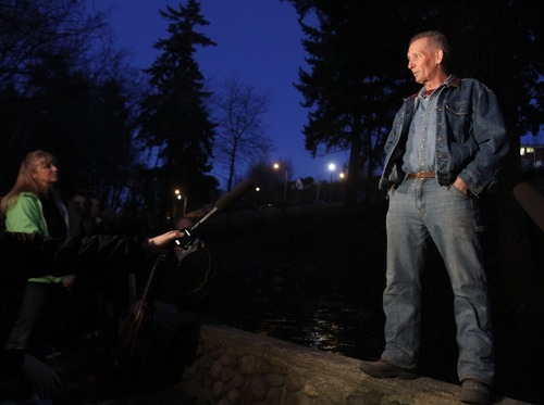 Rick Egan  | The Salt Lake Tribune   Larry Scheidt, steward of McKinley Park, talks about his visit with Charlie and Braden Powell, during a vigil at the park  in Tacoma, Monday, February 6, 2012.