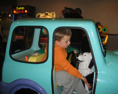 Braden Powell plays in a car at a fun center, in Puyallup, Wash., in this family photo from last October. Photo courtesy of the Cox family