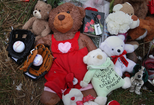 Rick Egan    The Salt Lake Tribune   Stuffed animals, balloons, and children's toys such as Pokémon cards make up a memorial near the home where Josh Powell took his life and the lives of Charlie and Braden, in Graham, Washington, Wednesday, February 8, 2012.