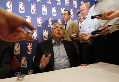 NBA commissioner David Stern speaks to reporters after a meeting with the players' union, Thursday, June 30, 2011 in New York. Despite a three-hour meeting Thursday, the sides could not close the enormous gap that remained in their positions. (AP Photo/Mary Altaffer)