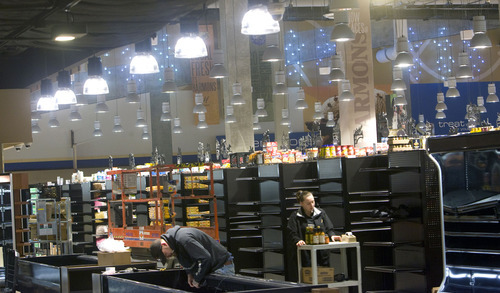 Al Hartmann  |  The Salt Lake Tribune The store's 50,000-square-foot ground level will house a large produce department and organic section, custom meat counter and a seafood counter with fresh fish flown in daily. The store is scheduled to open on Feb. 15.