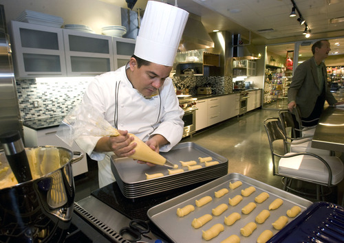 Al Hartmann  |  The Salt Lake Tribune The store will feature trained chefs such as Adalberto Diaz, who will teach cooking classes. The store also has obtained a limited liquor license to teach wine- and cheese-tasting classes. The downtown Salt Lake City store is scheduled to open on Feb. 15.