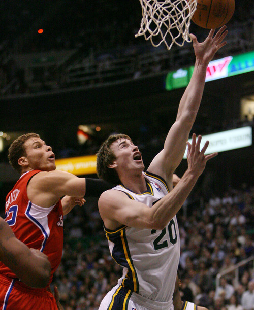 Steve Griffin  |  The Salt Lake Tribune   Utah's Gordon Hayward gets past Blake Griffin. of the Clippers, during first half action of the Jazz versus Clippers game at EnergySolutions Arena in Salt Lake City, Utah  Wednesday, February 1, 2012.