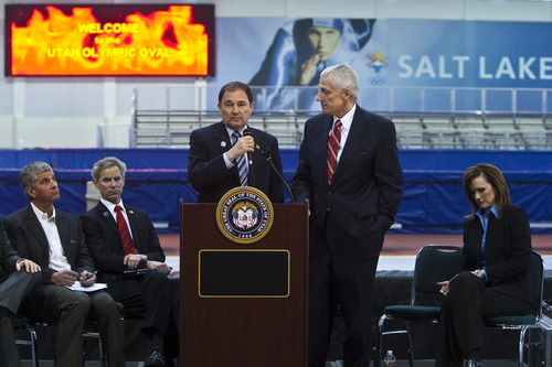 Chris Detrick  |  The Salt Lake Tribune Gov. Gary Herbert and Lt. Gov. Greg Bell answer questions about the formation of a panel to explore an Olympic bid for the 2022 or 2026 Winter Games in Utah at the Utah Olympic Oval in Kearns Wednesday February 8, 2012.