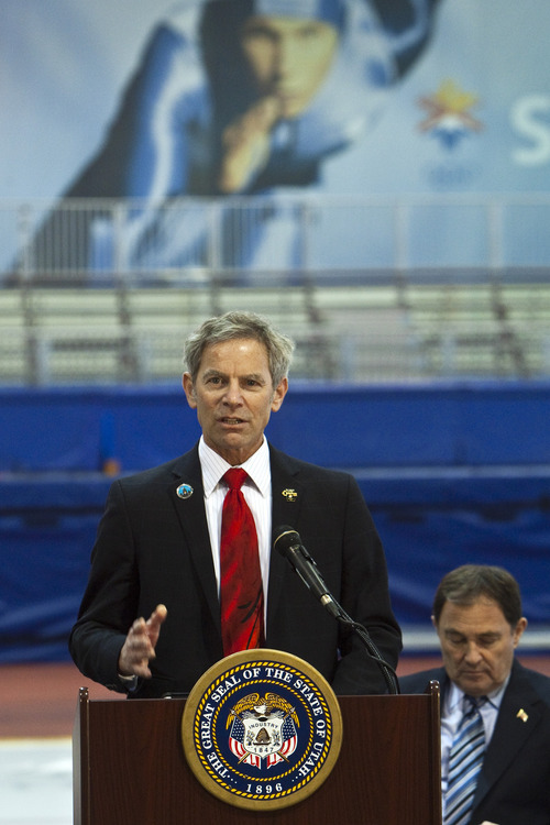 Chris Detrick  |  The Salt Lake Tribune Salt Lake City Mayor Ralph Becker announces the formation of a panel to explore an Olympic bid for the 2022 or 2026 Winter Games in Utah at the Utah Olympic Oval in Kearns Wednesday February 8, 2012.