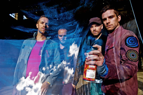 Coldplay photographed at Millennium Mills in East London's docklands.