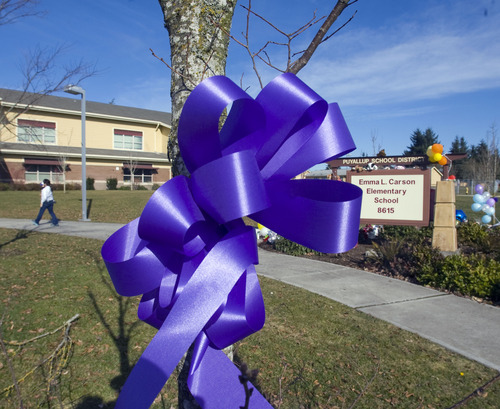 Al Hartmann  |  The Salt Lake Tribune Purple ribbons appeared again in the Puyallup, Washington neighborhood Tuesday morning February 7 as a reminder symbol of the still missing Susan Powell.  This after the murder-suicide of Josh Powell and his sons Charlie and Braden over the weekend.