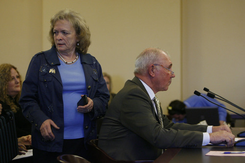 Francisco Kjolseth  |  The Salt Lake Tribune Gayle Ruzicka, head of the Utah Eagle Forum, finds her seat as Rep. Bill Wright, R-Holden, prepares to push HB363, outlawing public schools from teaching about contraception. The bill was amended to remove that prohibition, but it still allows school districts to drop sex education entirely. It narrowly passed committee on its way to the full House.
