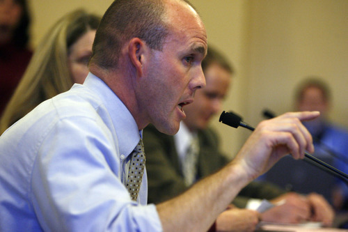 Francisco Kjolseth  |  The Salt Lake Tribune Cougar Hall, an assistant professor of Health Sciences at Brigham Young University speaks in opposition to HB363, changing Utah's sex-education law. He said it would be