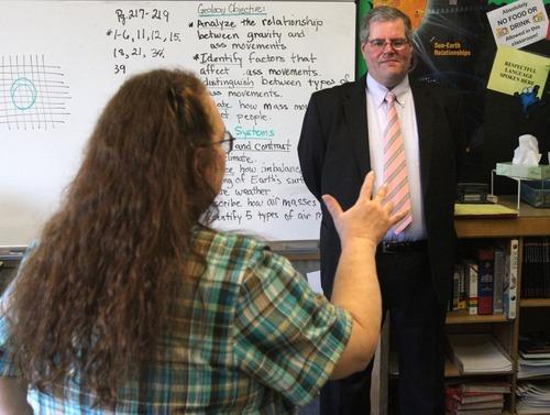 Rick Egan    The Salt Lake Tribune   Brad Smith, superintendent of Ogden School District, talks to science teacher, Lois Douglas, at George Washington High School. Jan. 5, 2012.
