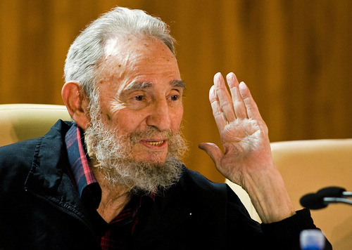 In this photo released by the state media website Cubadebate, Cuba's leader Fidel Castro speaks during a meeting with  intellectuals and writers at the International Book Fair in Havana, Cuba, Friday, Feb. 10 2012.  (AP Photo/Cubadebate, Roberto Chile)