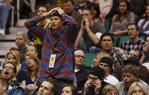 Trent Nelson  |  The Salt Lake Tribune Utah Jazz fans protest a foul call in the fourth quarter as the Utah Jazz host the Oklahoma City Thunder, NBA basketball at EnergySolutions Arena Saturday, February 11, 2012 in Salt Lake City, Utah.