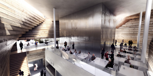 Rendering of the new Kimball Art Center, Park City, Utah, proposed by BIG-Bjarke Ingels Group. Courtesy image.