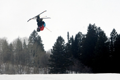 Kim Raff |  The Salt Lake Tribune Tom Wallisch competes in the ski slopestyle men's final at the Winter Dew Tour at Snowbasin in Huntsville on Sunday. Wallisch placed second in the event.