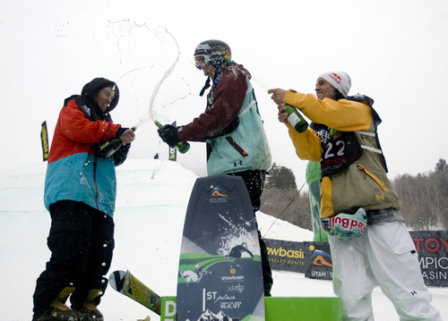 Kim Raff |  The Salt Lake Tribune Tom Wallisch, who placed second, Nick Goepper, first, and Bobby Brown, who placed third, celebrate their awards in the ski slopestyle men's final at the Winter Dew Tour at Snowbasin in Huntsville on Sunday.