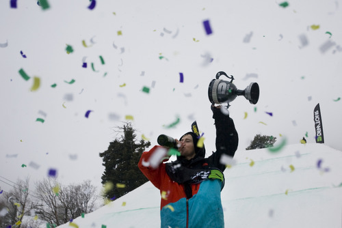 Kim Raff |  The Salt Lake Tribune Tom Wallisch celebrates second-place win in the ski slopestyle men's final at the Winter Dew Tour at Snowbasin in Huntsville on Sunday.