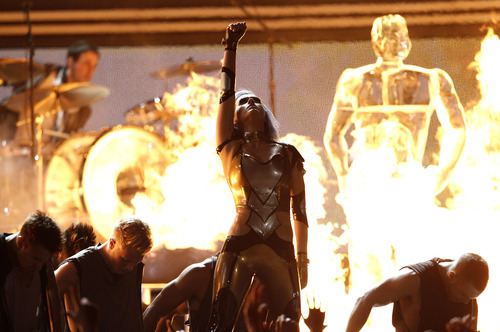 Katy Perry performs during the 54th annual Grammy Awards on Sunday, Feb. 12, 2012 in Los Angeles. (AP Photo/Matt Sayles)