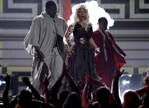 Nicki Minaj performs during the 54th annual Grammy Awards on Sunday, Feb. 12, 2012 in Los Angeles. (AP Photo/Matt Sayles)